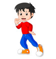 cute boy cartoon good posing vector image vector image