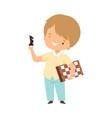 cute boy playing chess kids hobor creative vector image vector image
