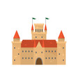 cute brown medieval castle with red ceramic roof vector image