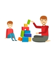 Father And A Boy Constructing From Blocks Happy vector image vector image