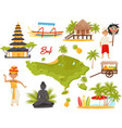 flat set of balinese landmarks and cultural vector image