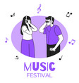 friends listening to music couple in circular vector image vector image