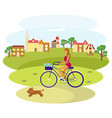 girl rides a bike vector image