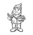 gnome with croissant engraving vector image vector image