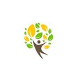 green tree people happy ecology logo vector image vector image