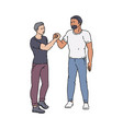 handshake standing men or guys in full growth vector image vector image