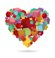 heart cubes colorful 3d geometric isometric vector image vector image