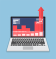 Laptop with business graph growth out from monitor vector image vector image