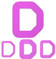 Magenta line d letter logo design set vector image vector image