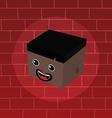 male isometric block cartoon head vector image vector image