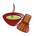 matcha tea in bowl with bamboo tea whisk vector image