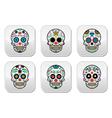 Mexican sugar skull Dia de los Muertos buttons se vector image vector image