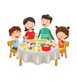of family having dinner vector image