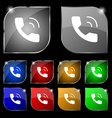 Phone icon sign Set of ten colorful buttons with vector image vector image