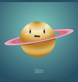 planet saturn in background space cute vector image vector image