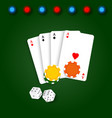 playing card chips and dice on a green background vector image vector image