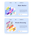 private browsing and secure online access vector image
