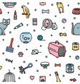 seamless pattern with pet shop goods and cute vector image vector image