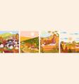 set cartoon flat autumn season village and town vector image vector image