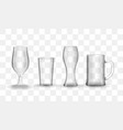 set of photo-realistic transparent beer and water vector image