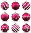 Set of realistic magenta christmas balls vector image vector image