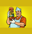 smiling oriental street food chef big burger vector image