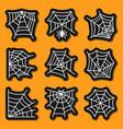 spider web icon sticker set cobweb white on black vector image