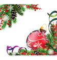spruce branches and red christmas ball vector image vector image