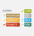 sticker set for allergens vector image