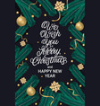 we wish you merry christmas party lettering text vector image vector image