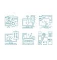 web development line icons seo mobile layout vector image