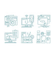 web development line icons seo mobile layout web vector image