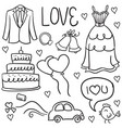 wedding hand draw in doodles style vector image vector image