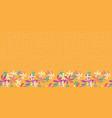 Whimsical flower border on orange background