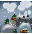 winter fantasy landscape with hedgehog vector image