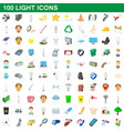 100 light icons set cartoon style vector image