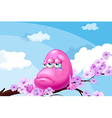 A pink monster at the branch of a tree vector image vector image