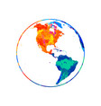 abstract planet earth from splash watercolors vector image vector image