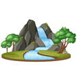an isolated waterfall on white background vector image vector image