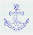 anchor with rope sketch on notebook sheet vector image vector image