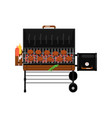 barbecue gas grill with grilled burgers icon vector image