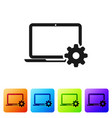 black laptop and gear icon on white background vector image vector image