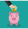 Buisness man hand put gold coin in pink piggy vector image vector image