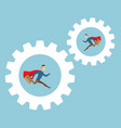 businessman running in cog gear wheels vector image vector image