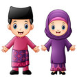 cartoon brunei couple wearing traditional costumes vector image vector image