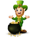 cartoon leprechaun with a pot of gold coins vector image