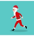 Cartoon Santa Claus runs to children at Christmas vector image