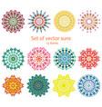 colorful ornamental decorative summer suns set vector image