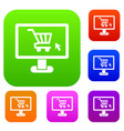 computer monitor with shopping cart set collection vector image