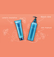 cosmetic bottles package promo design banner vector image